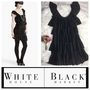 Holiday👗WHBM Black Tiered Ruffle Cocktail Dress